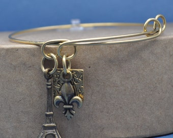 chic paris eiffel tower fleur de lis adjustable bangle charm bracelet,expandable bracelet, paris charms bracelet, eiffel tower