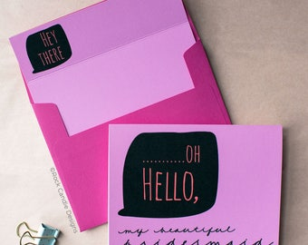 Oh Hello To My Beautiful Flower Girl Card | Will You Be My Maid of Honor | How To Ask Your Bridesmaid | Wedding Card | Wedding Invitation