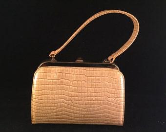 Vintage Yellow Faux Snake Skin Purse/Handbag