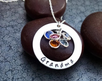 Mother's Day Gift For Grandma Washer Necklace Personalized Necklace for Grandma Jewelry