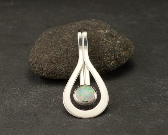Opal Pendant- Opal Necklace- Sterling Silver Necklace with Opal- Modern Pendant- Opal Jewelry- Gemstone Necklace