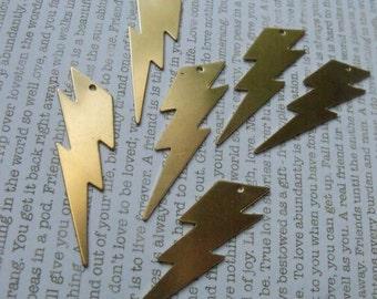 Big Lightning Bolt 40mm Brass Charms 6 Pcs