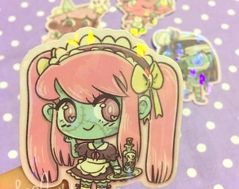 Holographic Zombie Maid Sticker