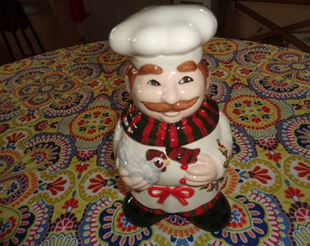 French Chef and Chicken Cookie Jar  Cook is wearing Christmas Holly Baker for Christmas Cookies