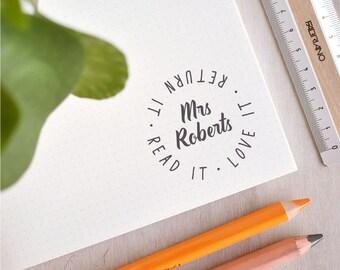 Read It, Love It, Return It Stamp   Custom Teacher Stamp - Personalised Book Stamp - Modern Bookplate - Graduation Gift - Teacher Gift