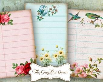 Vintage Flowers Digital Library Cards Digital Cards, 8 x Digital Printable Journaling Scrapbooking ATC Background