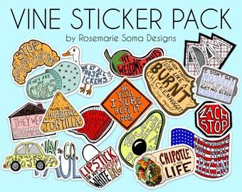 VINE STICKER pack - 18 stickers! - Vine Stickers, vine laptop stickers, vine sticker set, laptop sticker pack