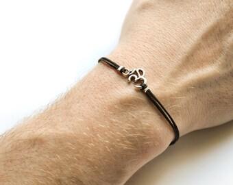 OM bracelet, men's bracelet with Tibetan silver Om charm, Hindu, black cord, bracelet for men, gift for him, yoga bracelet, groomsman gift