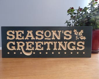 Seasons Greetings Holiday Wooden Painted Carved Sign