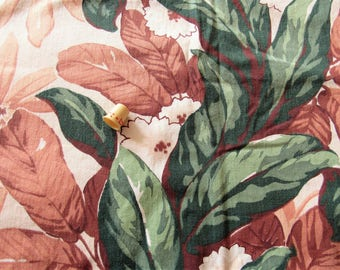 brown and green tropical floral print vintage cotton curtain panel