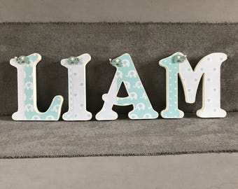 baby nursery room wooden letters~ aqua mint elephant letters~elephant decor~ baby shower designs~wall hanging~free standing~baby wall decor~