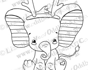 INSTANT DOWNLOAD Digi Stamp Digital Image Kawaii Christmas Baby Elephant w/ Antlers ~ Bobby Image No. 133 by Lizzy Love