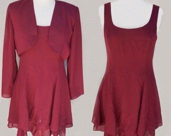 90's Maroon Dress Set with Matching Cropped Jacket, Short Red Dress, Burgundy Jacket Matching Set, Flowy Dress, Red Party Dress 90s Clothing
