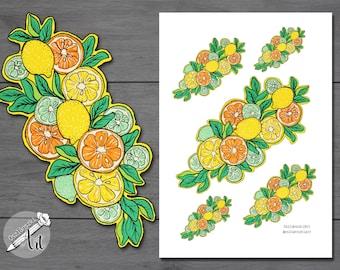Back to School Stickers - Orange, lemon, lime printable stickers