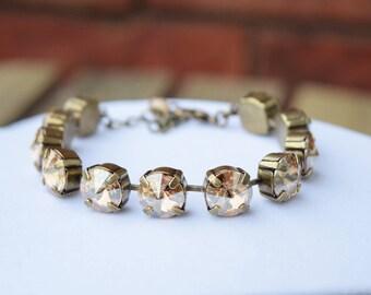 Swarovski Crystal Bracelet - Golden Shadow 10mm, Gold Bracelet, Swarovski Bracelet