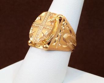 "GOLDSHINE 22K Solid Yellow Gold Men's Ring Size 8.75 (US/Canada) Genuine & HALLMARKED ""22KDM"""