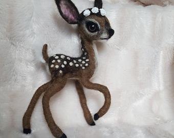 Ooak collectable needle felted  deer fawn bambi woollen sculpture fibre art doll