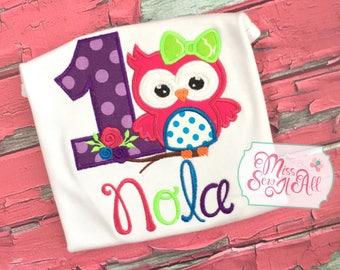 Girls Owl Birthday Shirt, Custom Owl Shirt, Owl Birthday Shirt, Owl Birthday Top, Custom Birthday Shirt