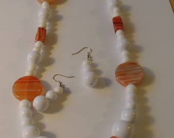 White and Orange Beaded Necklace