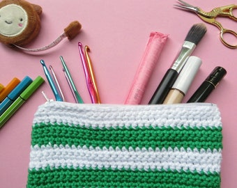 Cosmetic Bag Green Hand Made | Cotton Bag | Toiletry Bag | Makeup Bag | Wash Bag | Travel Bag | Cosmetic Purse | Pencil Case | Gift For Her