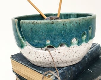 Dark Green Wheel Thrown Yarn Bowl - MADE TO ORDER
