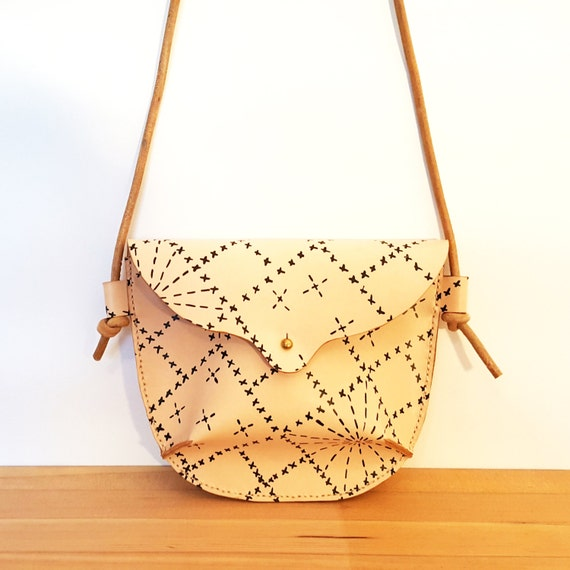 Hand Stitched Leather Small Crossbody Bag in Sashiko in Black 7a4147e2c2d3d