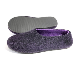 Felted Felt Slippers Black Violet, Wool Felt House Slippers, Tyrolean Wool House Wool Shoes Customize Color, House Slippers Men Fathers Day