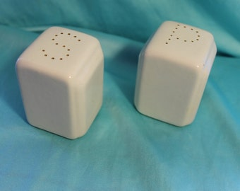 White deco salt and pepper shakers