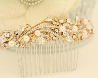 Bridal hair comb Gold,Pearl Wedding hair comb Wedding hair jewellery Wedding decorative combs Bridal hair accessories,Wedding comb gold,clip