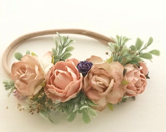 Flowergirl Headband  | Girls Flower Crown  |  Baby Flower Crown | Baby Flower Headband | Baby Girl Flower Crown | Boho Flower Crown