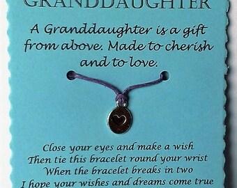 Granddaughter gift, Wish Bracelet, Granddaughter bracelet, Charm bracelet, Granddaughter Jewelry, Gift Granddaughter Granddaughter Xmas gift