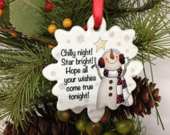 Chilly Night Ornament, Personalize Ornament, Star Bright Ornament, Porcelain Ornament, Wishes Ornament, Stocking Stuffer, Gift under 10