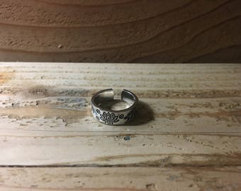 Lotus and Branch Design Handstamped Adjustable Ring, Size 7-9.5, Aluminum