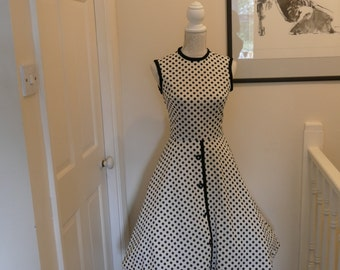 Delightfully Dotty White and Back 1960s Summer Dress. Bleeker Street Label.