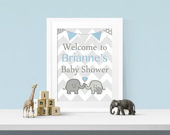 Elephant baby shower decorations, Elephant baby shower sign, Elephant Baby shower, Grey and Blue Nursery Print,  Choose your colors