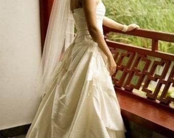 Single Layer waltz Simple  Wedding Veil abusymother white, ivory light ivory or diamond white