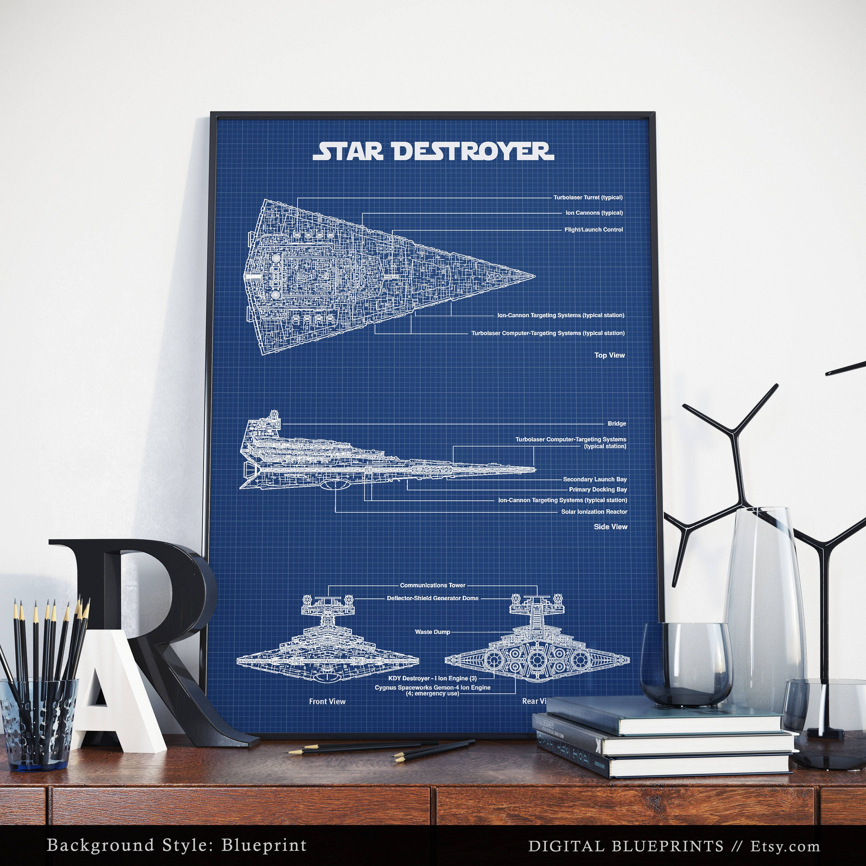 Imperial star destroyer star wars poster printable digital ampliar malvernweather Image collections