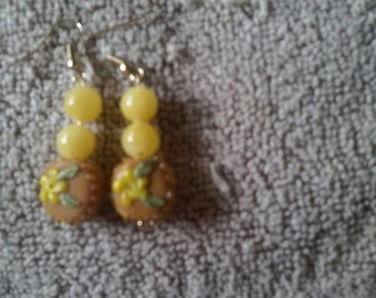 Brown and yellow candy earrings