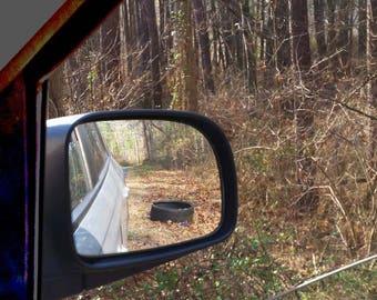 Rear view mirror, woods, original photo print, art print, famous quotes, Socrates, winter, grateful, share