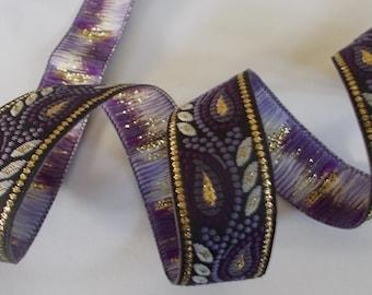"Metallic Woven Jacquard Ribbon Trim Tape~Black~purple~lilac~grey~metallic gold~3/4"" wide"