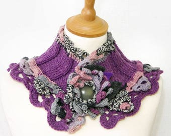 knit capelet knit crochet lace cowl purple pink knit crochet neck cozy neck warmer for her romantic cowl PiaBarileAccessories