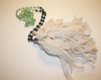 White Sari Silk Ribbon Tassel Necklace
