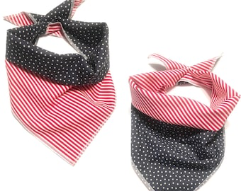 Red white and blue reversible tie on pet bandana