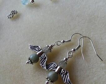 Aqua Terra Angels Jasper Gemstone Peace Earrings Lightweight Sterling Silver Jewelry