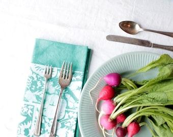 pair of turquoise morning glory napkins