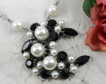 Vintage Black Rhinestone and White Pearl Brooch Assemblage  Necklace - Brides Black & White Wedding Jewelry - by Boutique Bijou