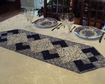 Quilted Table Runner, Topper or Accent in Bright Blues and Whites
