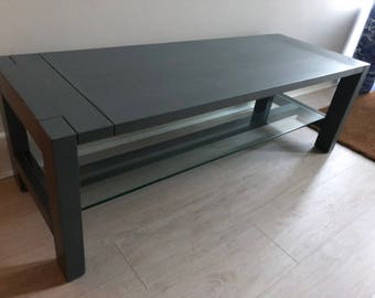 """Hand Painted Coffee Table in Farrow & Ball """"Downpipe"""" with a clear wax finish"""