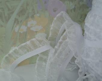 """3yds Elastic Ruffle Ribbon White Sheen Organza single side 3/4"""" inch Wide Stretch Trim diy wedding bridal Garter Elastic by the yard"""