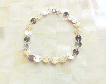 Silver Link Round Disc Bracelet (B1230)